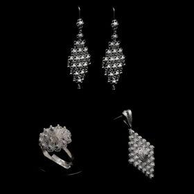 "Handmade Set ""Diamond"" Filigree Silver Jewelry from Cyprus"