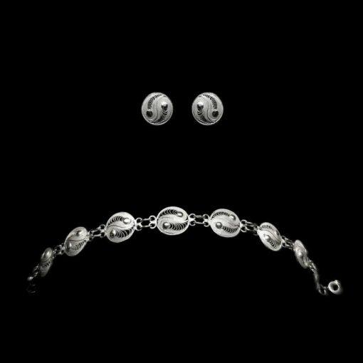 "Handmade Set ""Yin Yang"" Filigree Silver Jewelry from Cyprus"