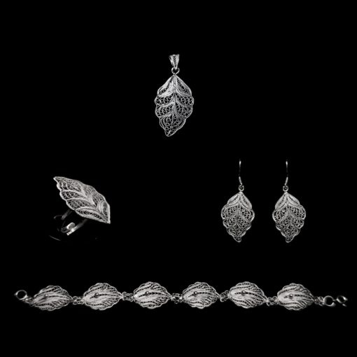 "Handmade Set ""Riverleaf"" Filigree Silver Jewelry from Cyprus"