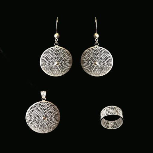 "Handmade Set ""Moon"" Filigree Silver Jewelry from Cyprus"