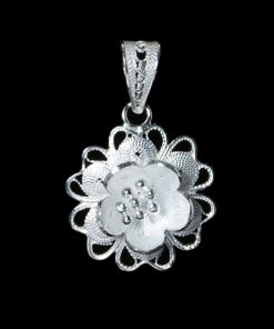 "Handmade Pendant ""Star Flower"" Filigree Silver Jewelry from Cyprus"