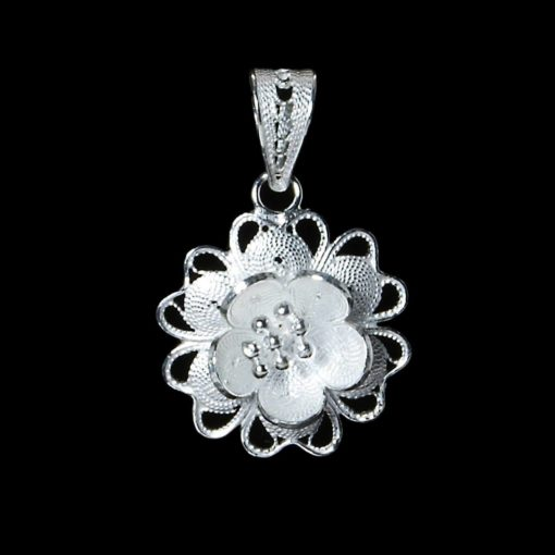 "Handmade Pendant ""Star Flower"" Filigree Silver Jewelry from Cyprus"