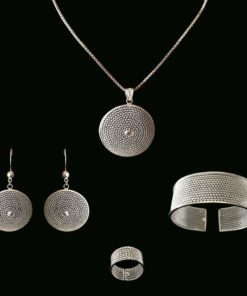 "Handmade Set ""Moon"" - Full set with bangle Filigree Silver Jewelry from Cyprus"