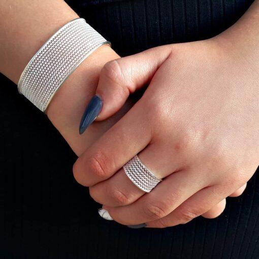 "Handmade Bangle ""Moon"" Filigree Silver Jewelry from Cyprus"